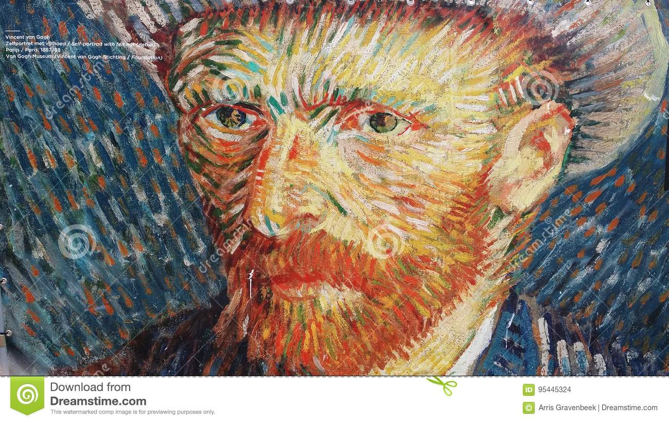 3546eb0d837 Oil paint self portrait with straw hat by vincent Van Gogh on dock. made in  parijs in july1887