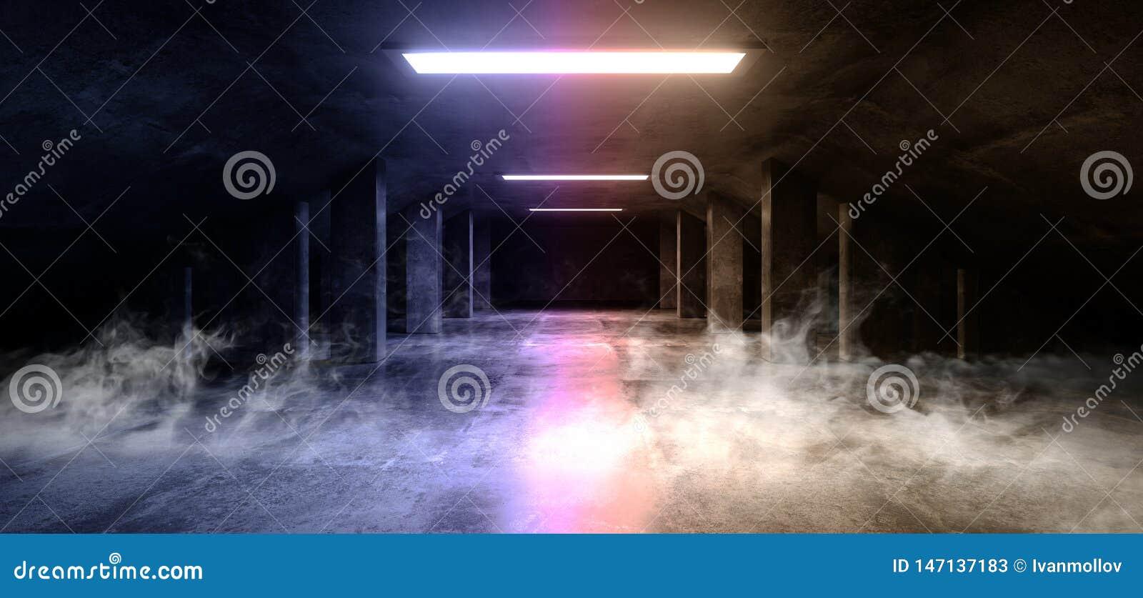 Zement-Asphalt Futuristic Spaceship Elegant Underground-Garagen-Tunnel-Korridor-leerer Raum Rauch Sci FI moderner dunkler konkret