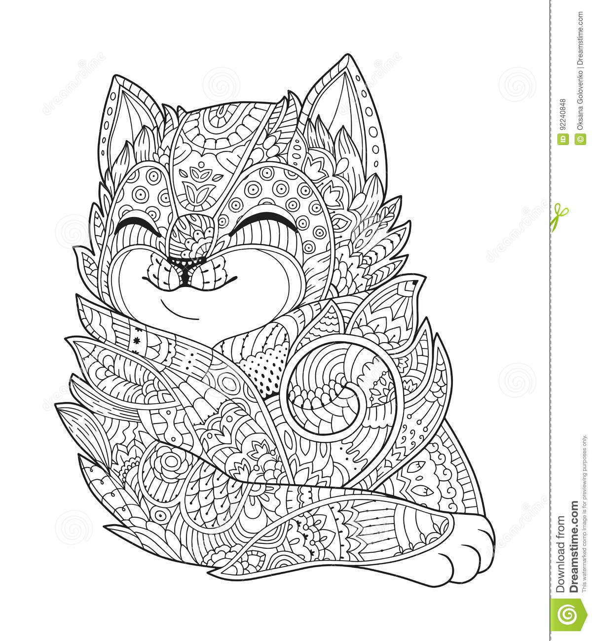 Zen cat coloring page - Zen Art Cat Hand Drawn Vector Fluffy Cat Portrait In Zentangle Style For Adult Coloring Page Zen Doodle