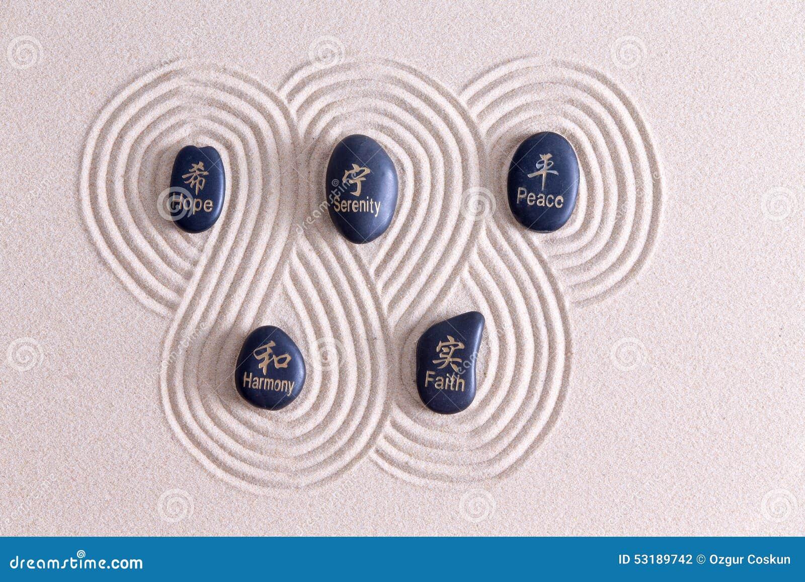 Zen Art With Stones On Golden Sand Stock Photo Image