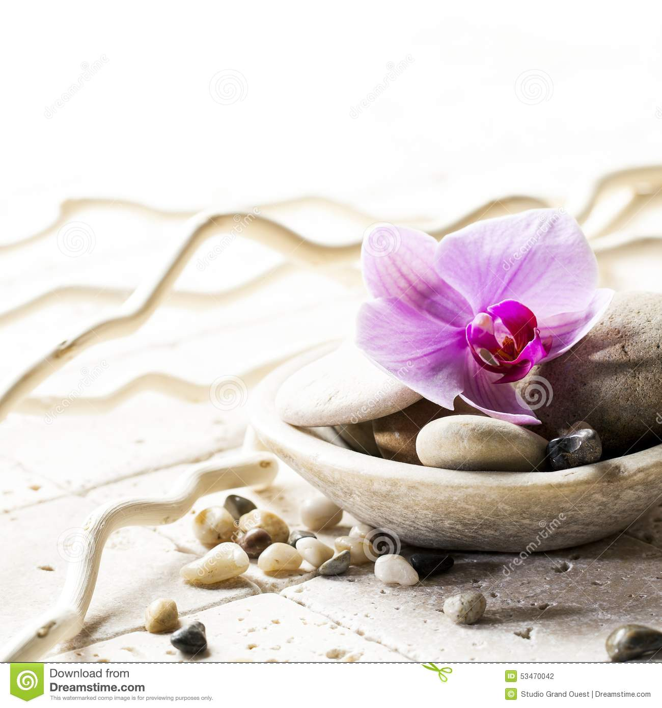 zen attitude with mineral cup of stones and flower stock photo image 53470042. Black Bedroom Furniture Sets. Home Design Ideas