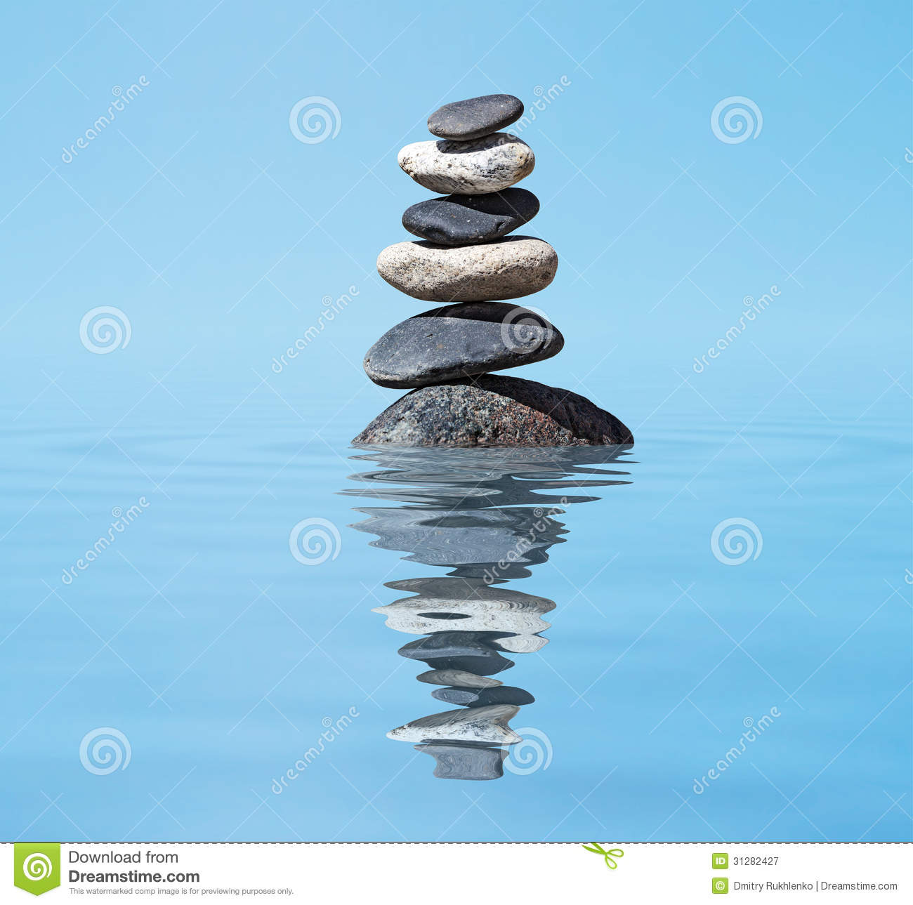 zen balanced stones stack in lake balance peace silence concept royalty free stock photography. Black Bedroom Furniture Sets. Home Design Ideas