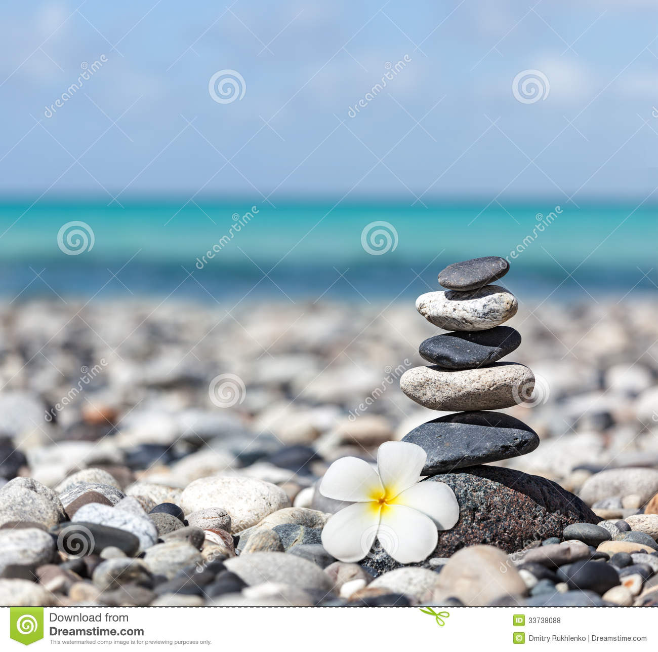 zen balanced stones stack with plumeria flower royalty free stock photos image 33738088. Black Bedroom Furniture Sets. Home Design Ideas