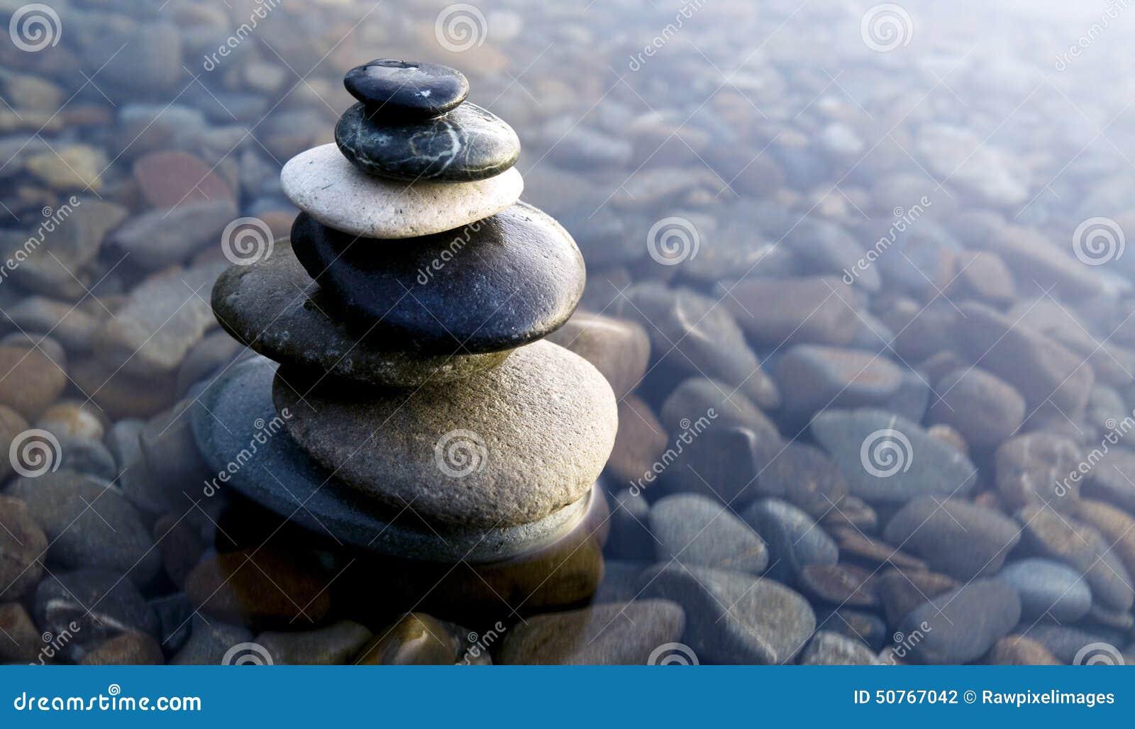 Zen Balancing Rocks Pebbles Covered Water Concept