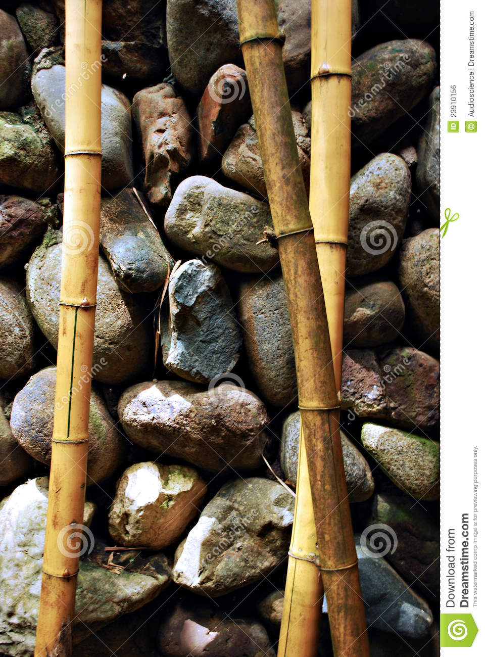 Zen Bamboo Branches and Stones Background