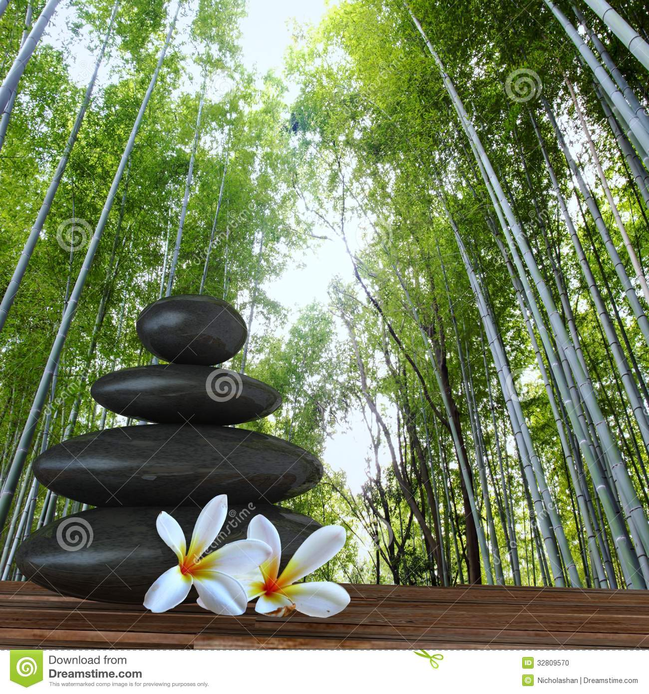 Zen Basalt Stones And Bamboo Zen Stone With Flower In