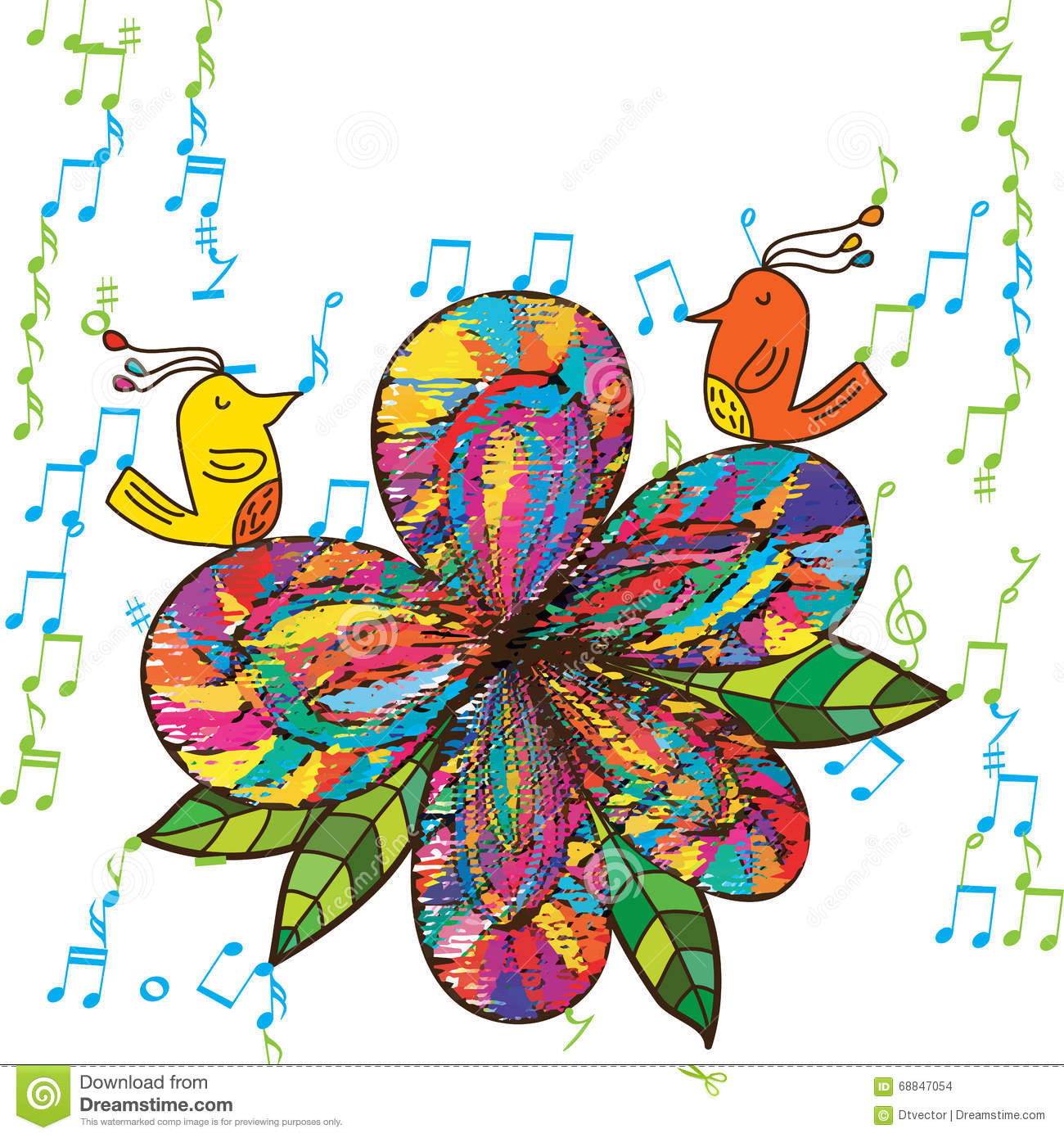 Color zen music - Royalty Free Vector Download Zen Bird Flower Fabric Music
