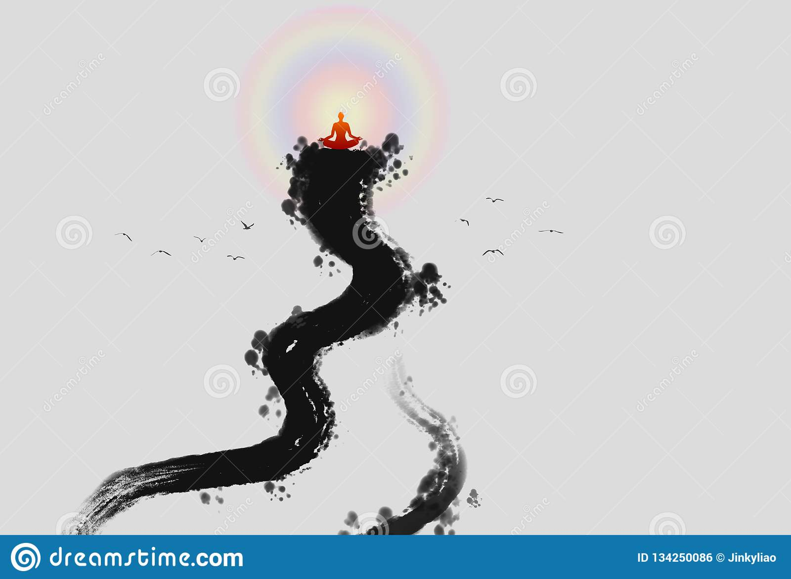 Zen Buddha light ink painting