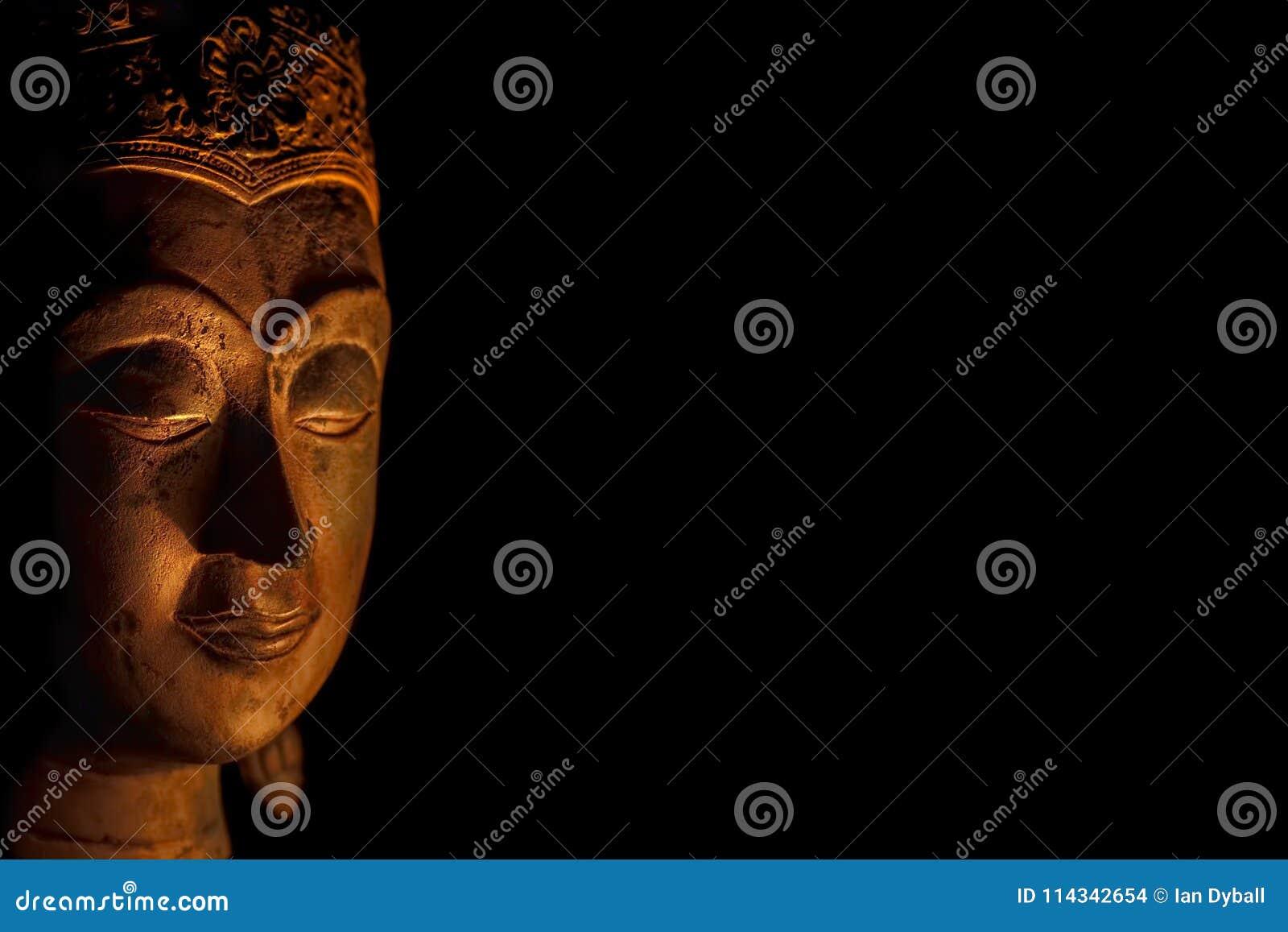 Zen Buddhism. Spiritual enlightenment of serene Buddha head in m