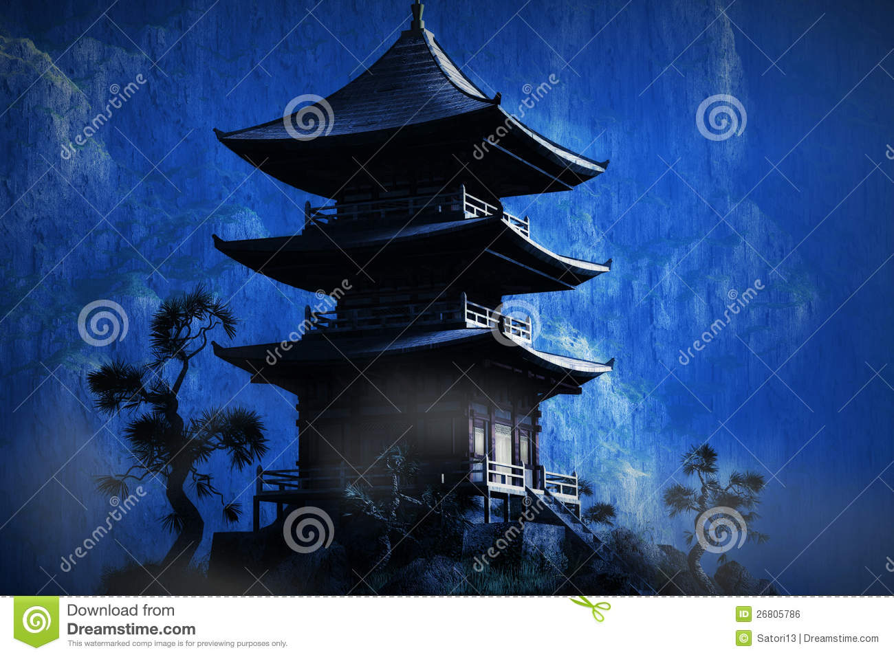 zen buddhist temple in the mountains royalty free stock. Black Bedroom Furniture Sets. Home Design Ideas