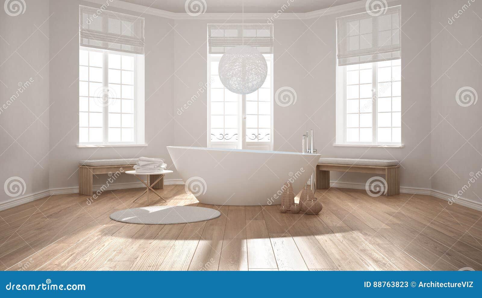 Zen Classic Spa Bathroom With Bathtub, Minimalist Scandinavian I ...