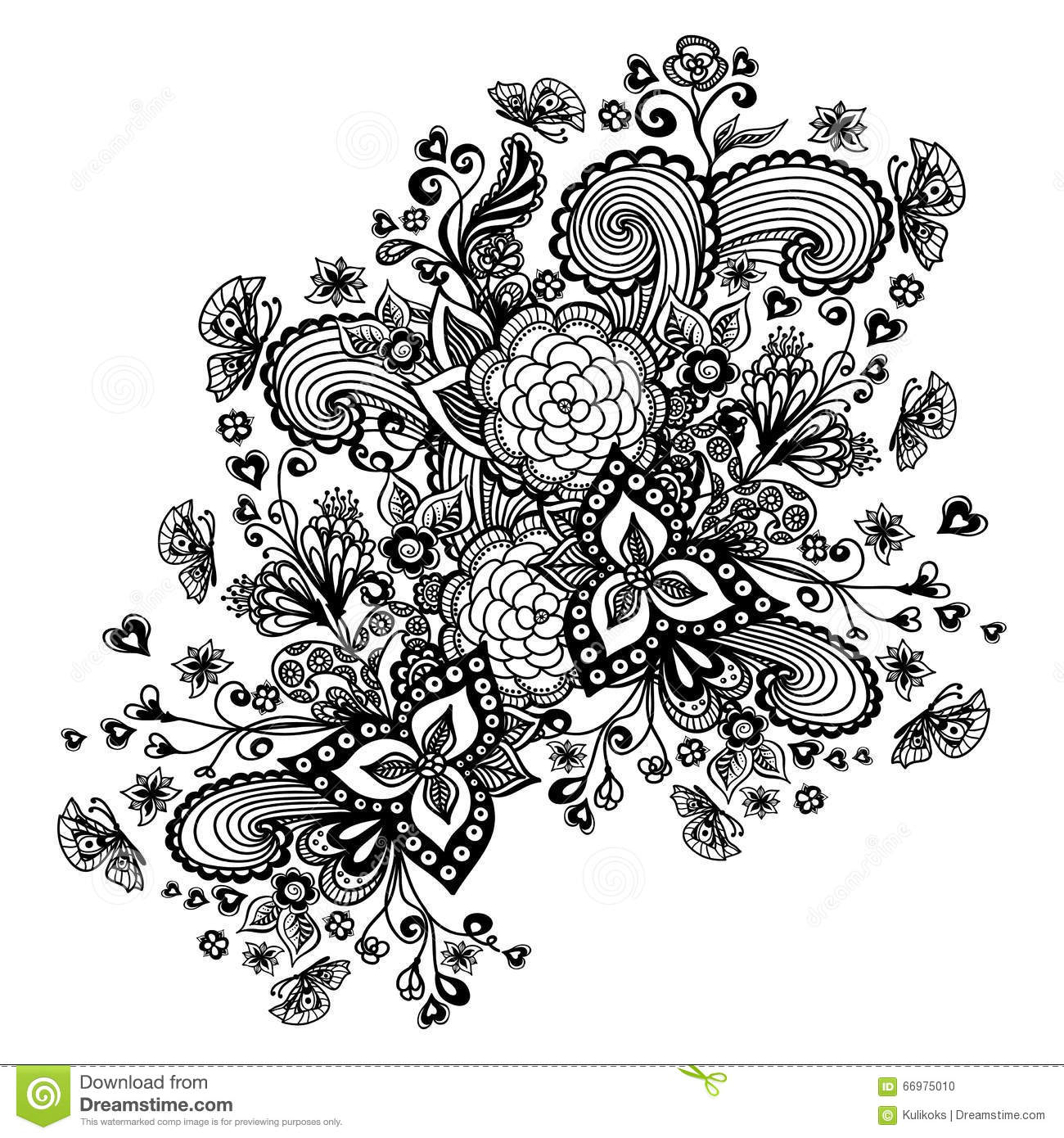 Zen-Doodle Background With Flowers Butterflies Hearts Black On White ...