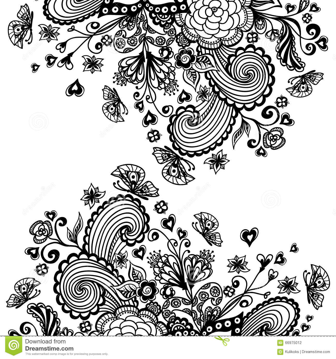 hearts and butterflies coloring pages - zen doodle background with flowers butterflies hearts