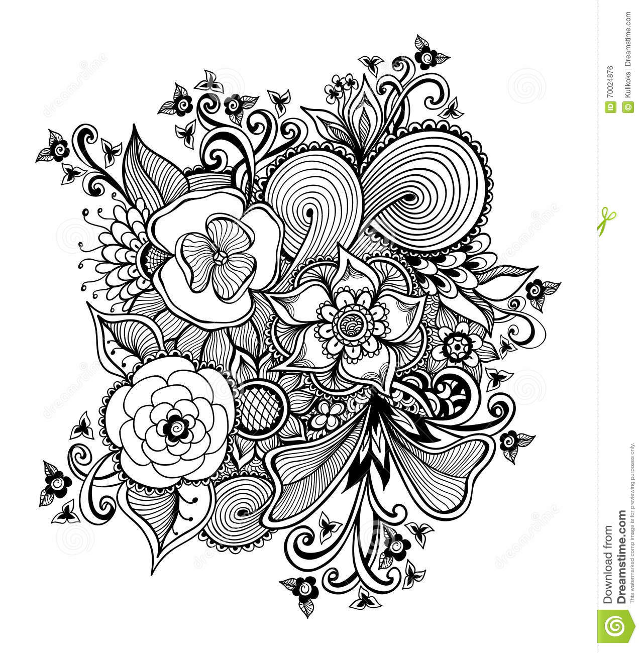 Zendoodle Bouquet Of Flowers Black