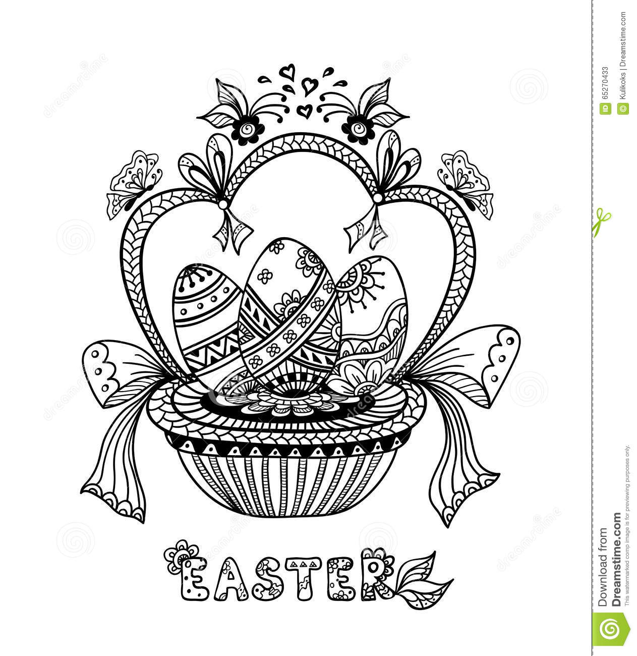 zen doodle easter eggs in basket black on white stock vector