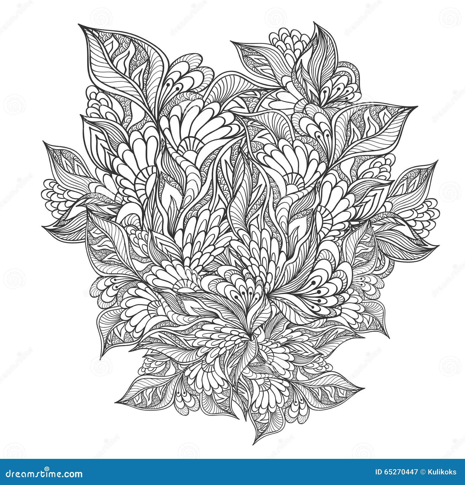 zen doodle floral pattern black on white stock vector