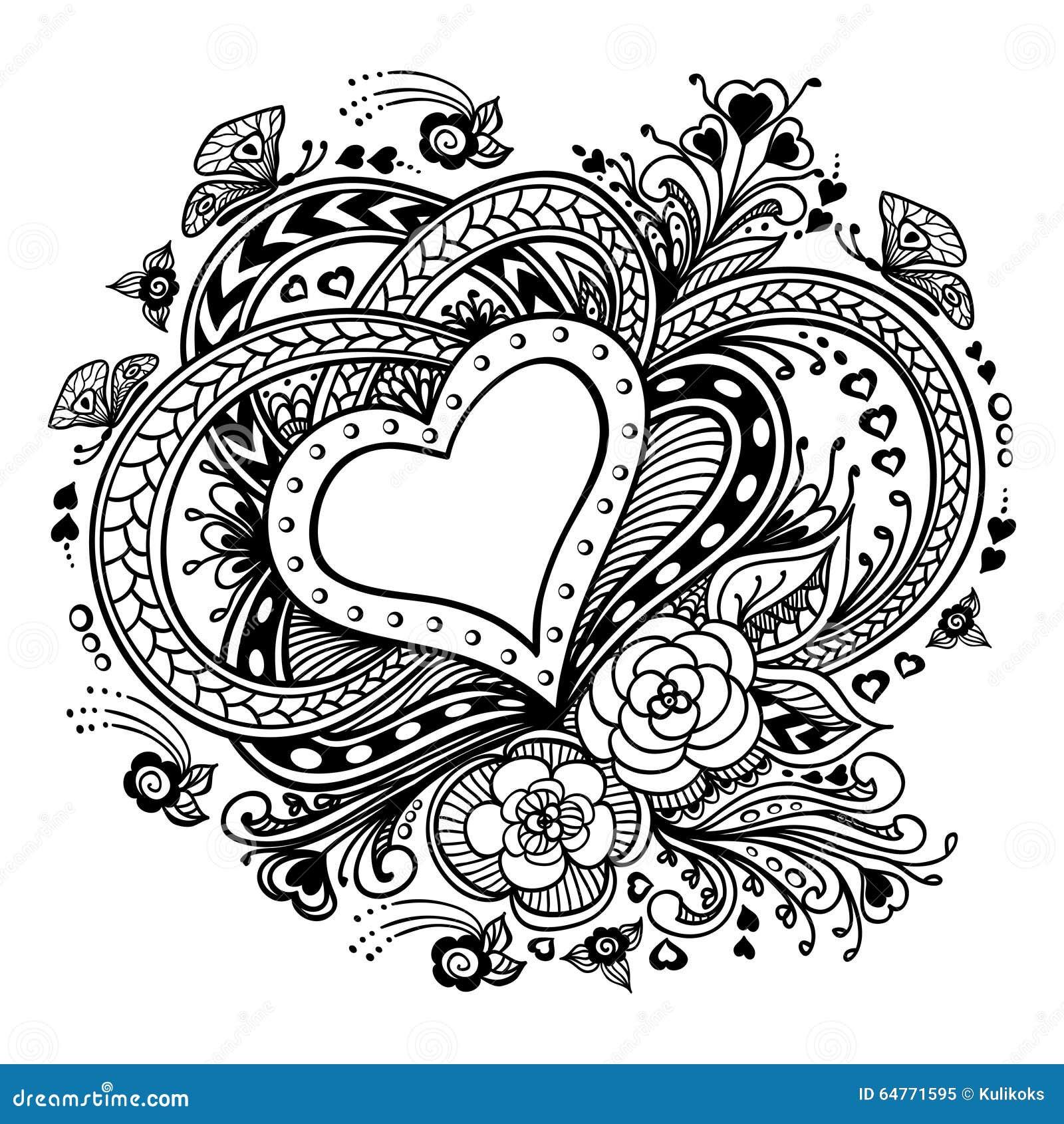 Zen-doodle Heart Frame With Flowers Butterflies Black On White Stock ...