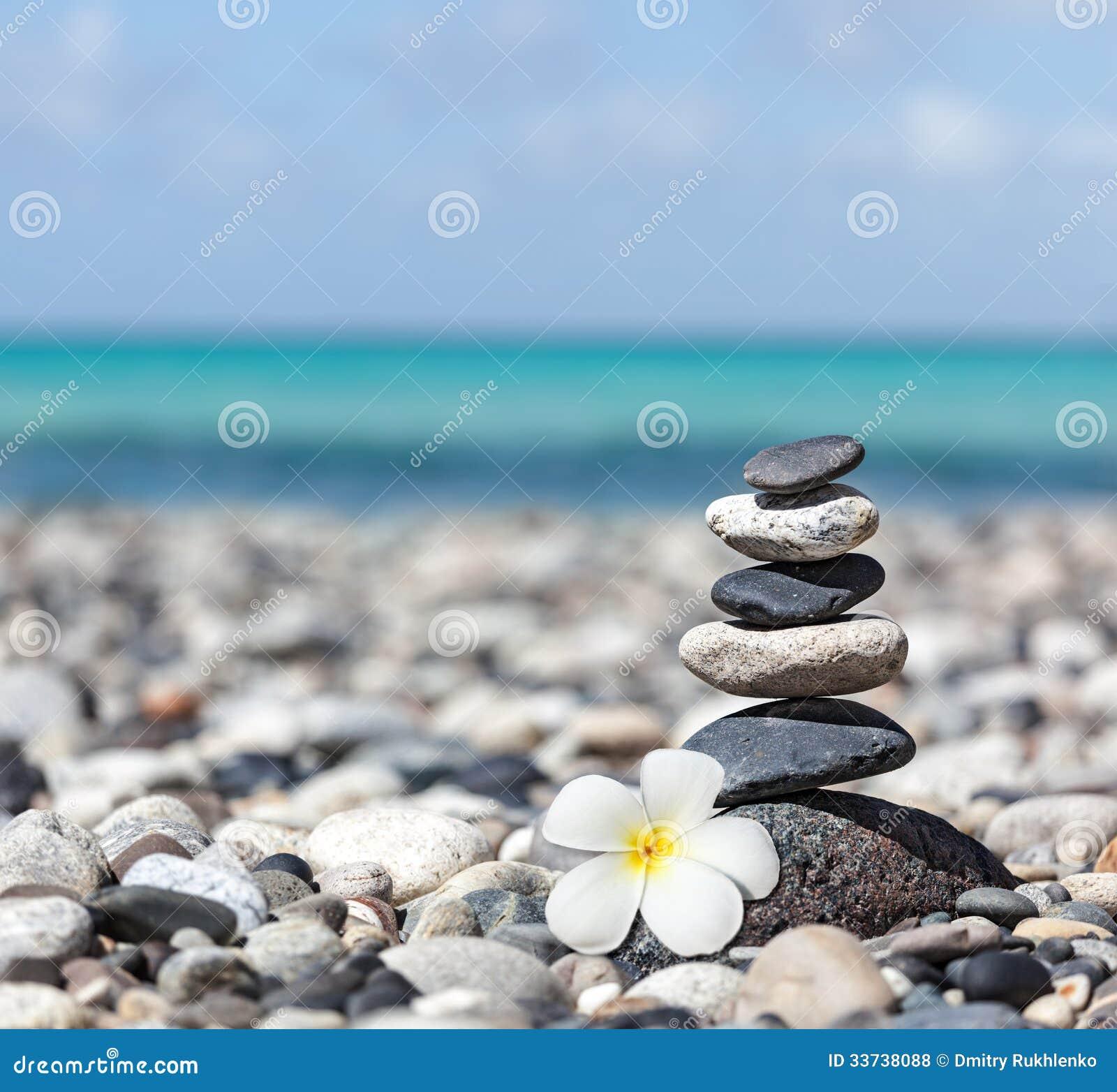 Zen evenwichtige stenenstapel met plumeriabloem