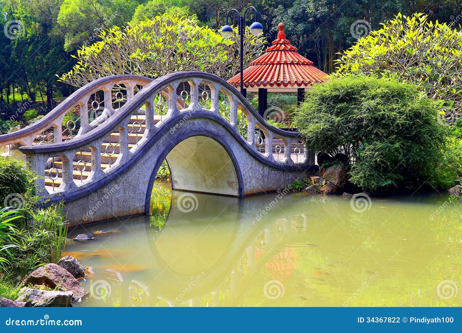 Zen garden with arch shape bridge stock photo image for Zen garden bridge