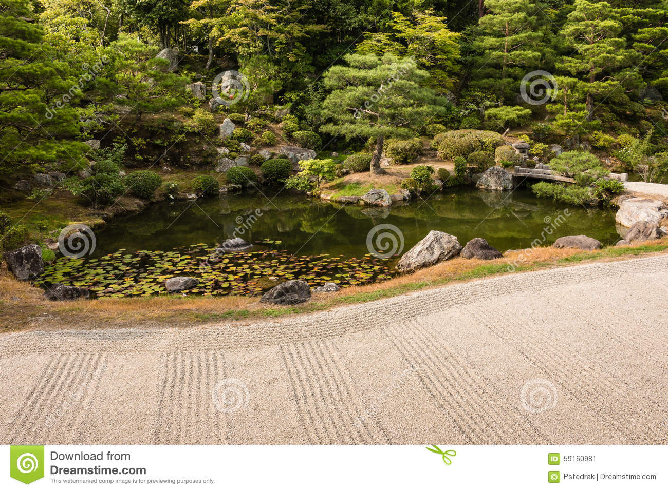 Zen Garden With Pond And Pruned Trees Stock Image - Image of gravel ...