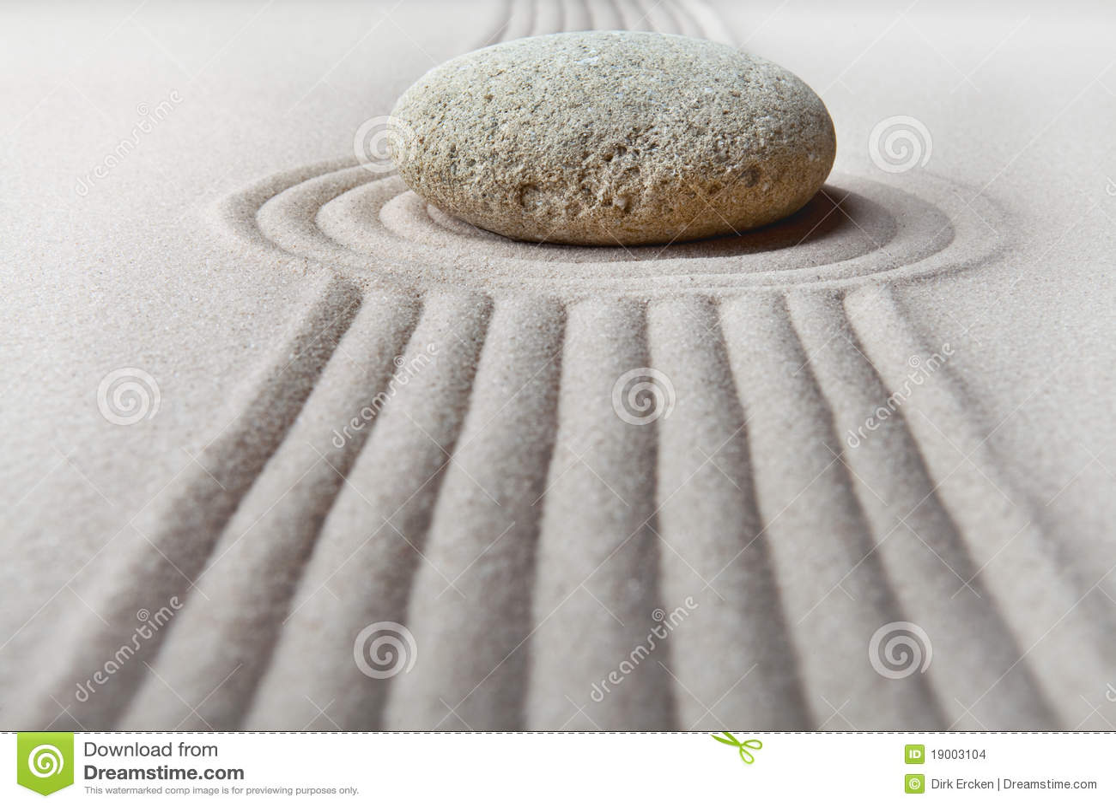Zen Garden Raked Sand And Stone Pattern Stock Images