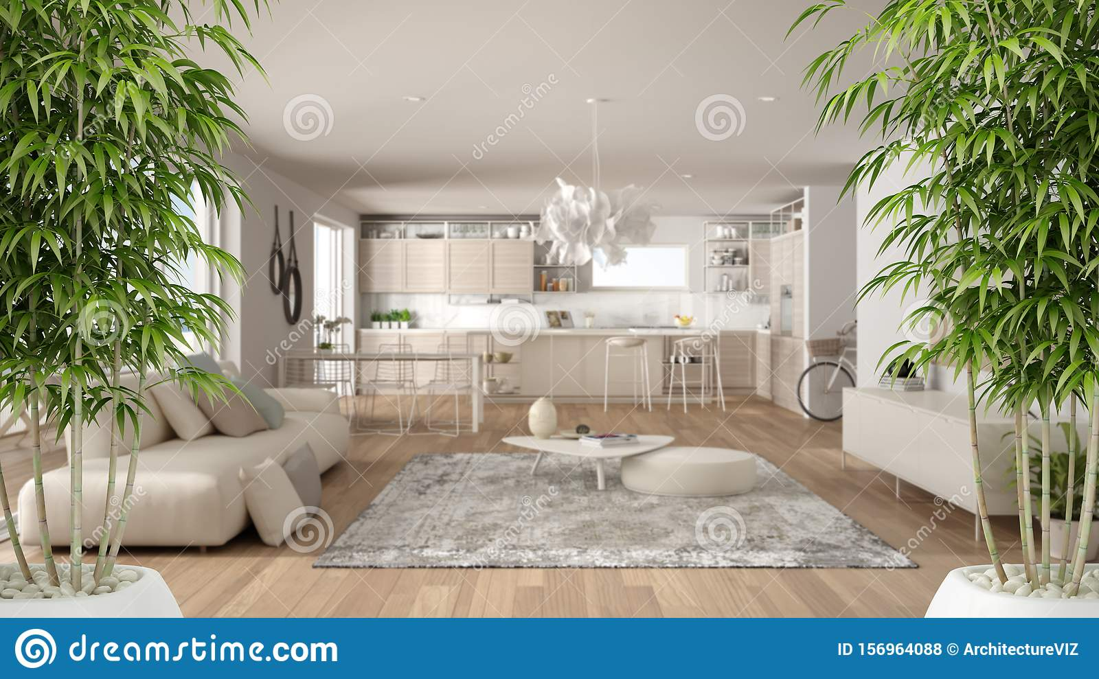 Zen Interior With Potted Bamboo Plant Natural Interior Design Concept Minimalist Luxury Living Room And Kitchen Contemporary Stock Photo Image Of Leaf Dining 156964088