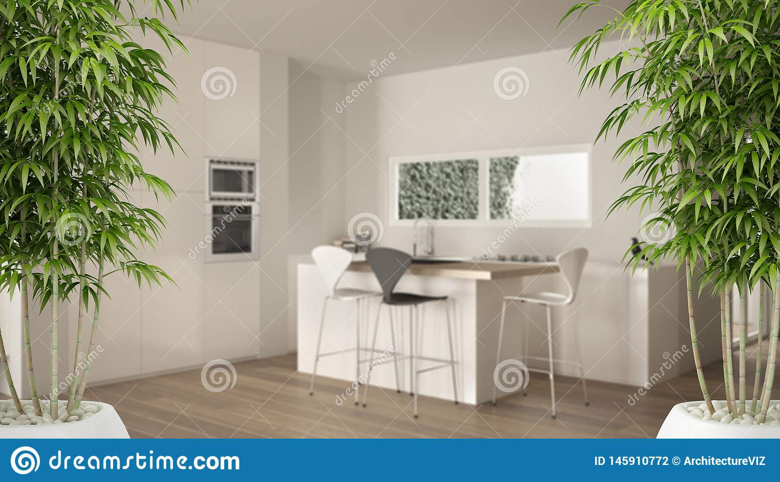 Zen Interior With Potted Bamboo Plant Natural Interior Design Concept Minimalist White Kitchen With Dining Table And Parquet Stock Illustration Illustration Of Branch Bush 145910772