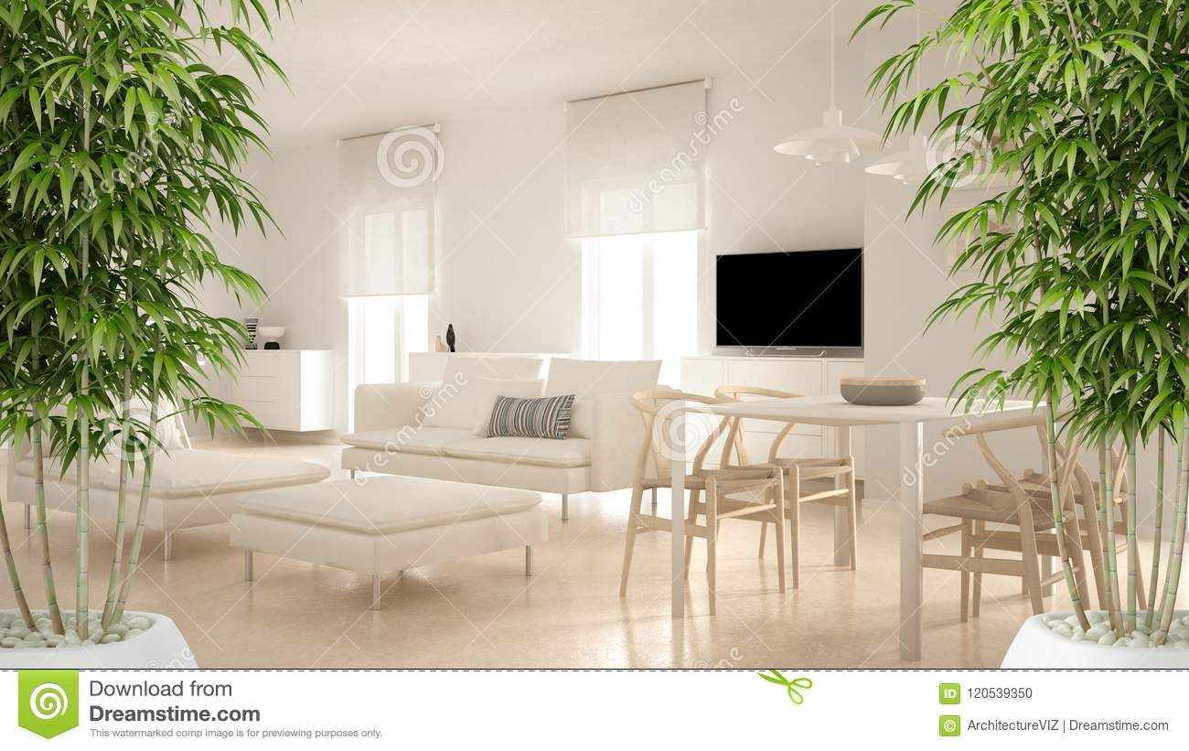 Zen Interior With Potted Bamboo Plant Natural Interior Design Concept Modern Contemporary Living Room Open Space With Dining Tab Stock Photo Image Of Bamboo Architecture 120539350