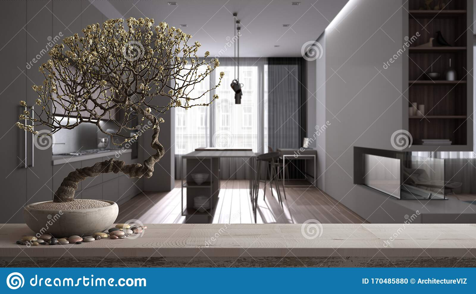Zen Interior With Potted Bamboo Plant Natural Interior Design Concept Modern Luxury White And Wooden Kitchen Dining Room With Stock Illustration Illustration Of Modern Bush 170485880
