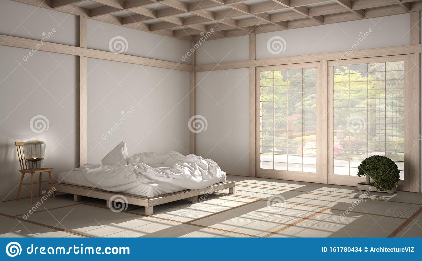 Zen Japanese Empty Minimalist Bedroom Wooden Roof Tatami Floor Futon Double Bed Big Window On Zen Garden Meditative Space Stock Illustration Illustration Of Calm Furniture 161780434