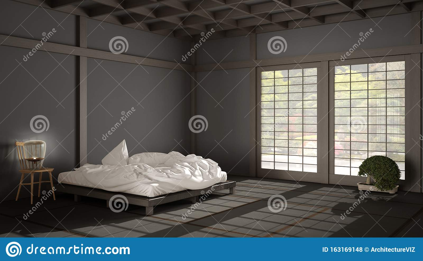 Zen Japanese Empty Minimalist Bedroom Wooden Roof Tatami Floor Futon Double Bed Big Window On Zen Garden Meditative Space Stock Photo Image Of Meditation Bedding 163169148
