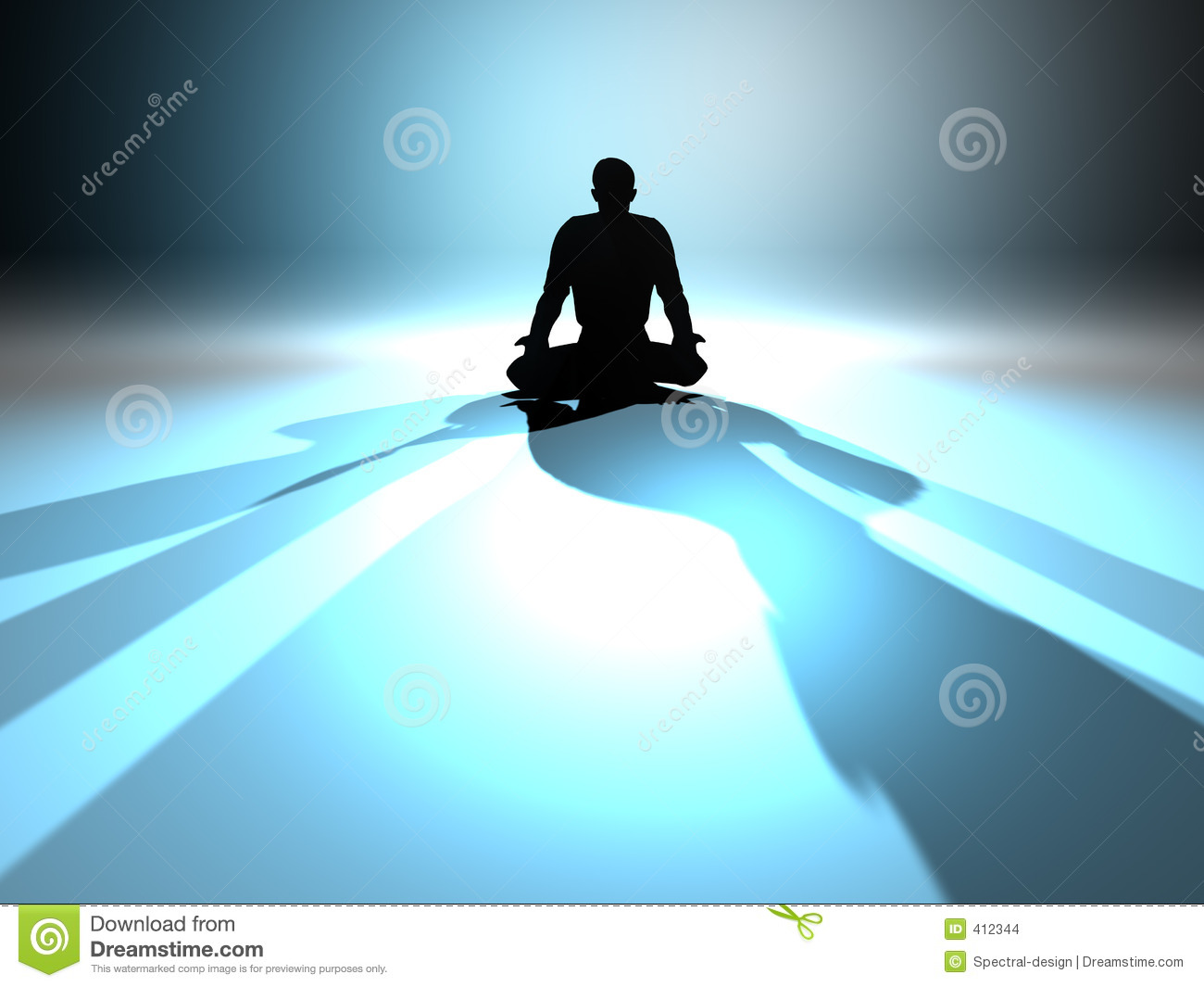Zen Meditation in a classical Asana. 3D rendered illustration.