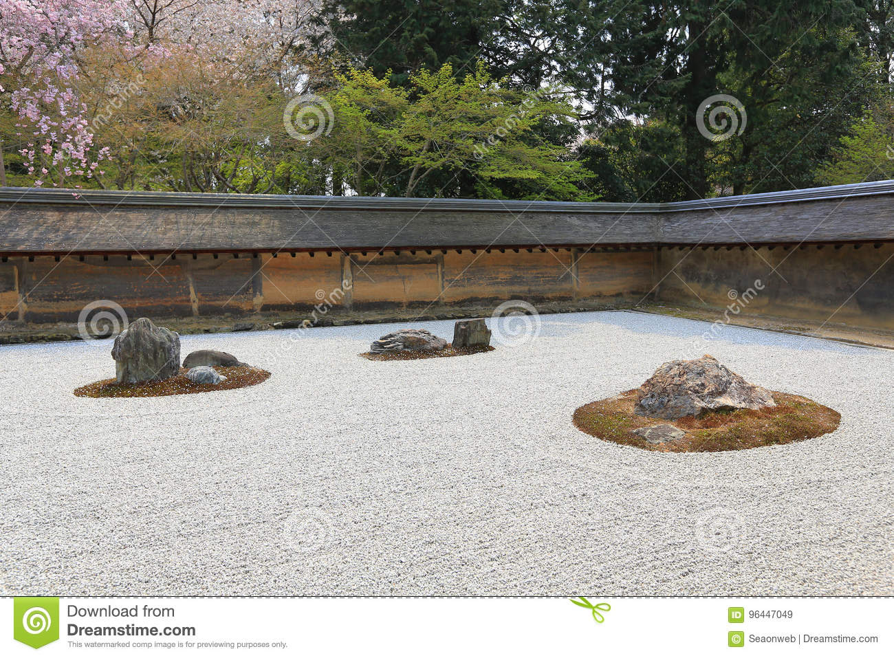 Download A Zen Rock Garden In Ryoanji Temple.In A Garden Fifteen Stones O  Stock