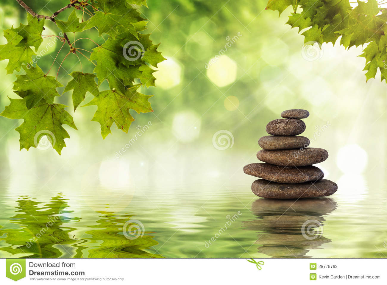 Zen rocks standing in water with ripples.