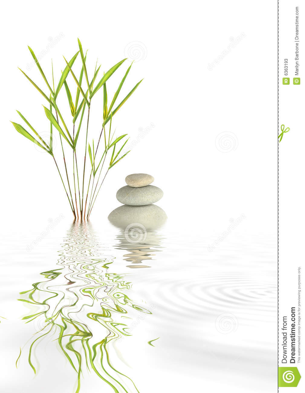 Zen abstract of grey spa stones and bamboo grass with reflection in ...