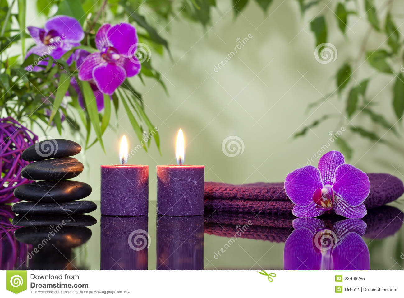 Zen Stones Orchid And Aromatic Candles Stock Image Image