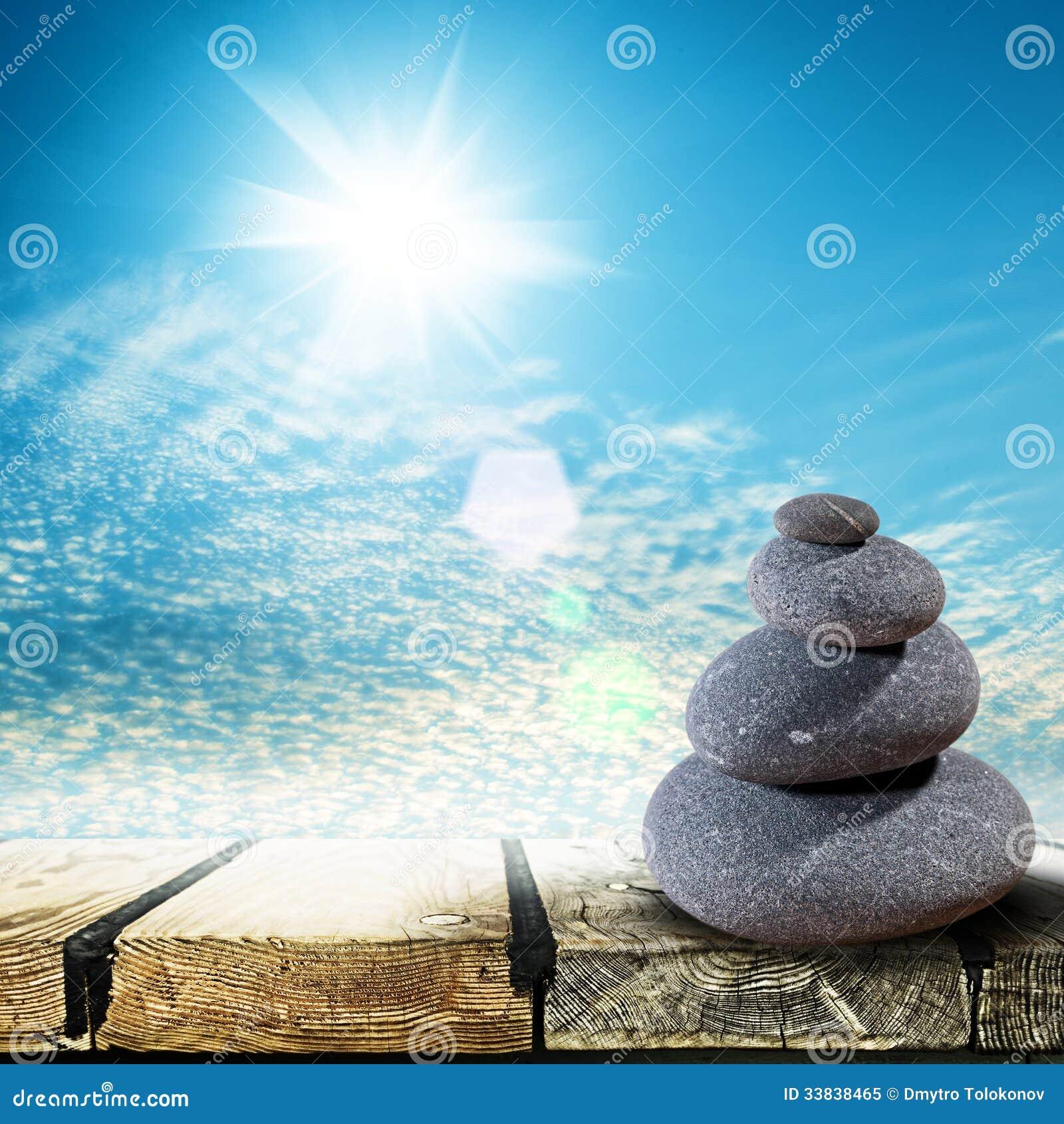 Zen Stones over wooden desk