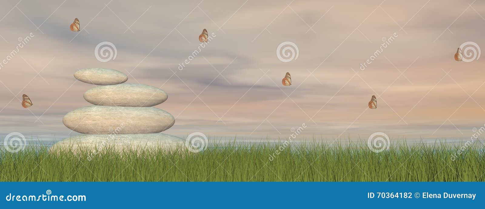Zen Stones And Peace 3d Render Stock Illustration