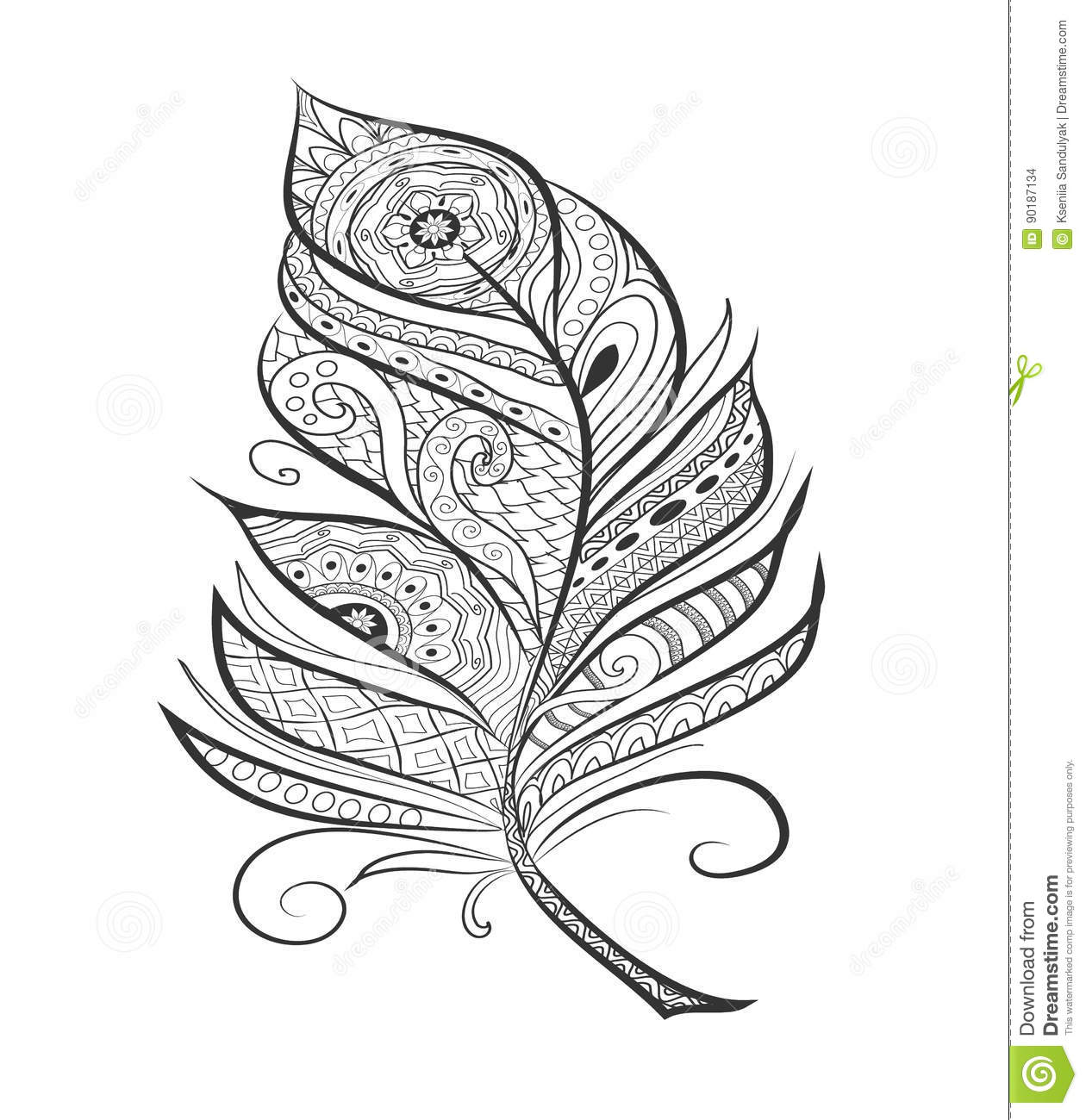 Zen Tangle Stylized Feather For Coloring Page. Stock Vector ...