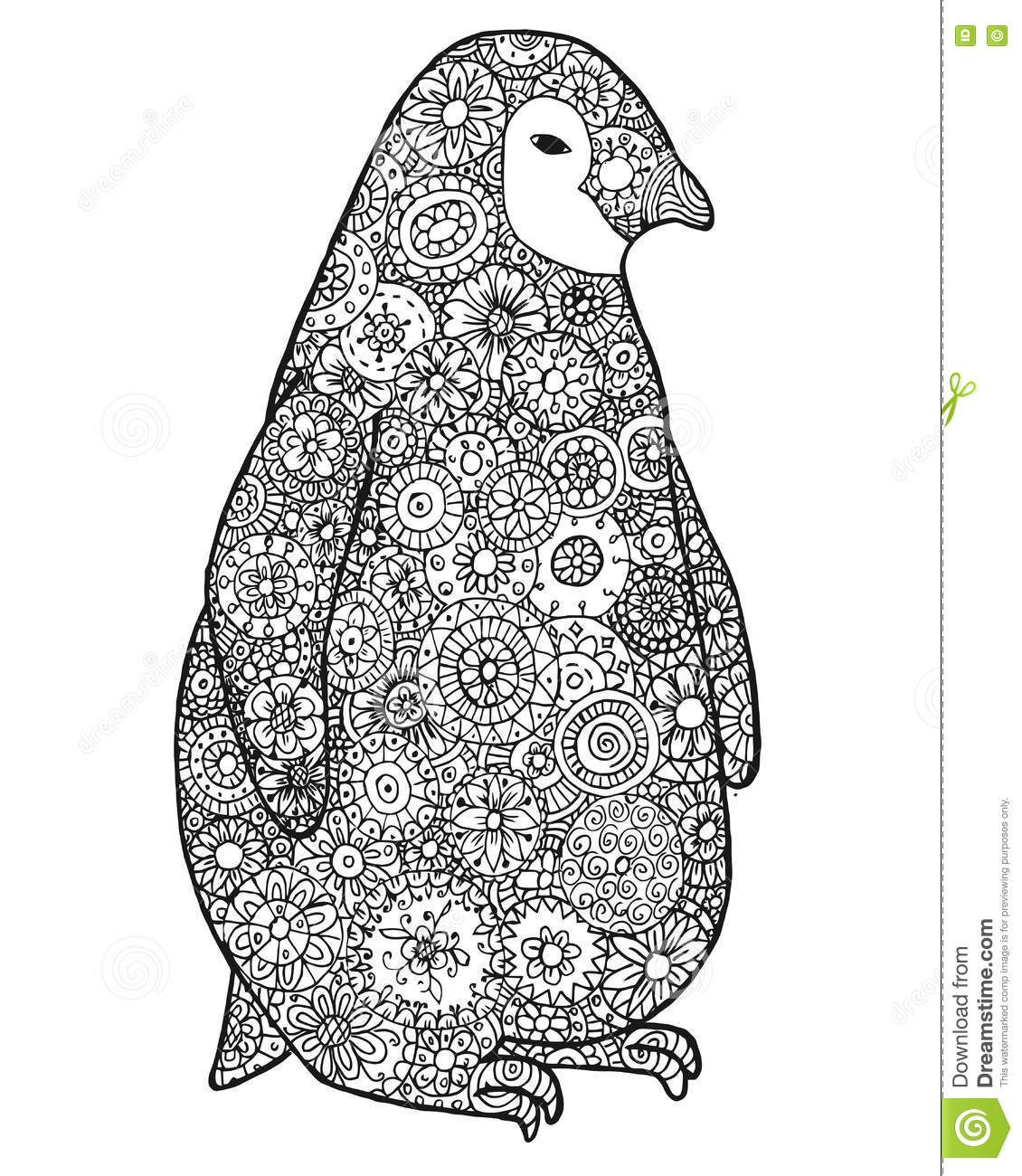 Penguin Zentangle Animal Silhouette Vector Coloring Book Contour