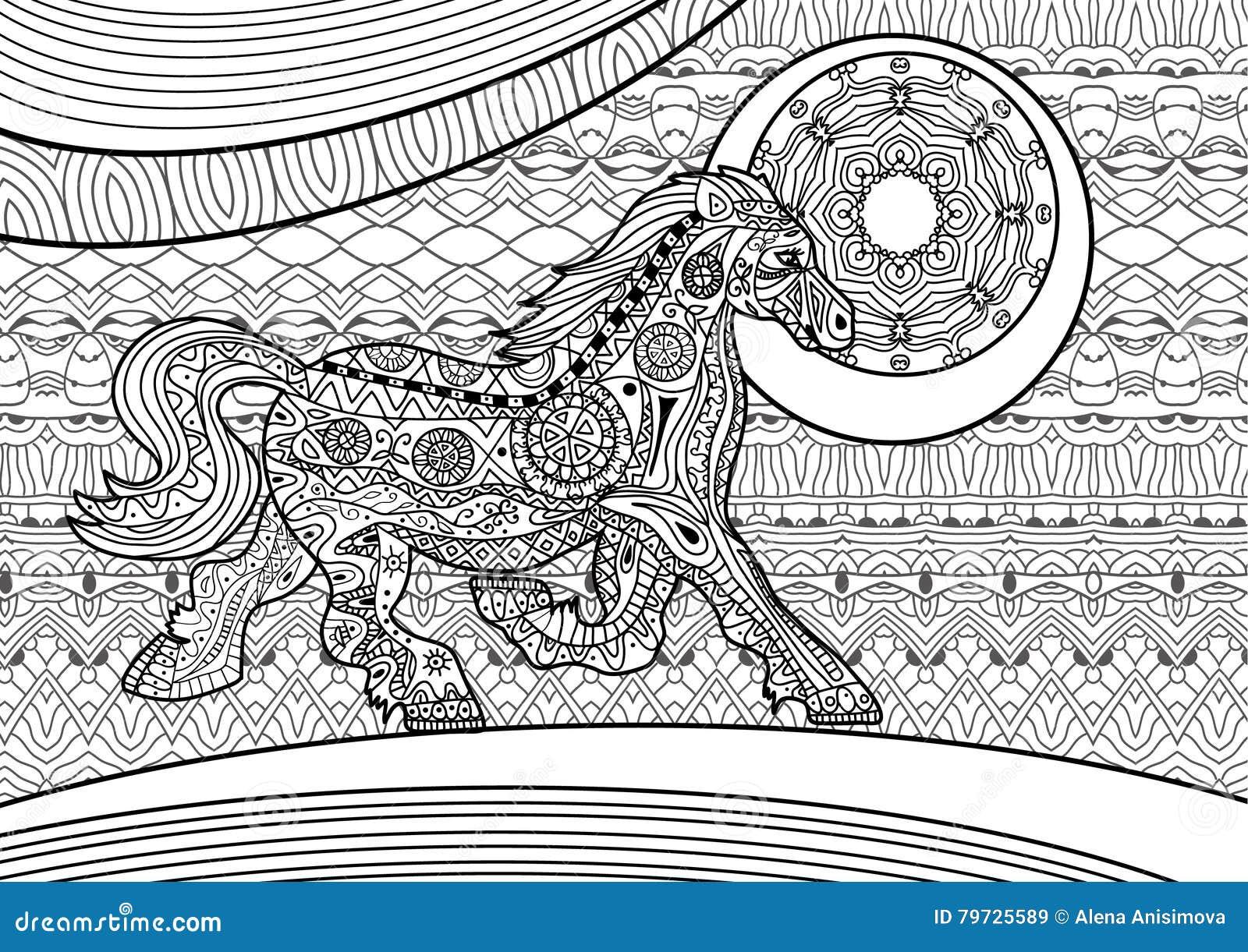 Zenart Caballo corriente en el fondo del modelo Libro de colorante