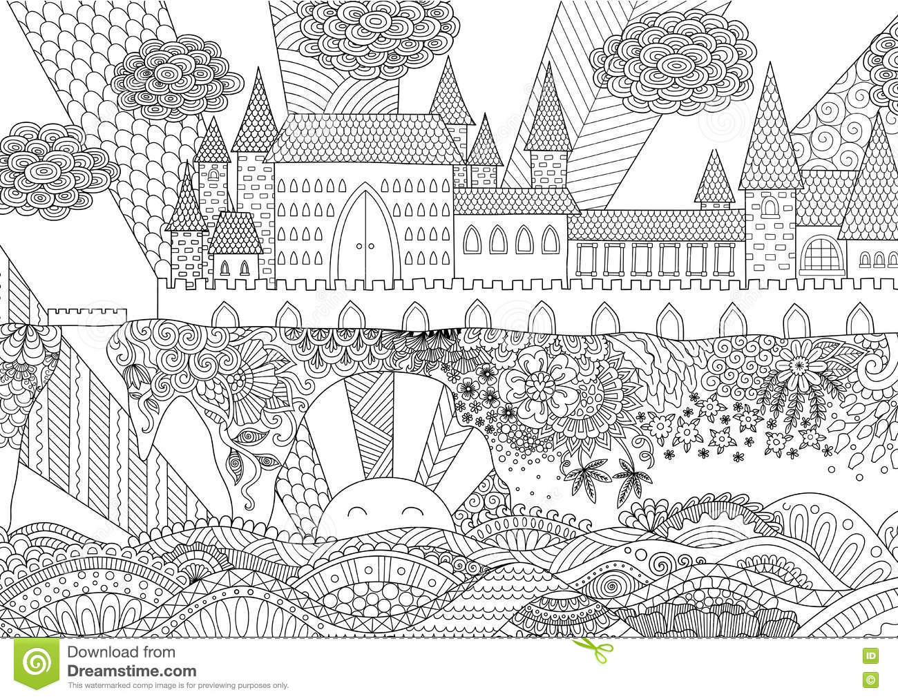 Coloring pages for adults landscapes - Zendoodle Castle Landscape For Background Adult Coloring And Design Element Stock