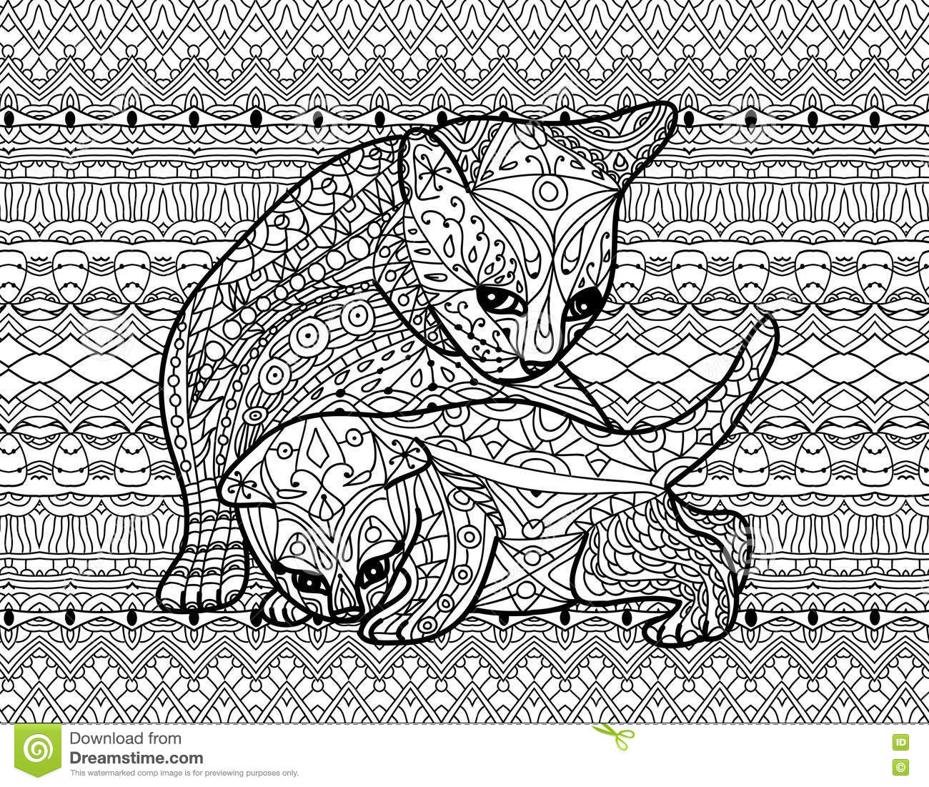 Zendoodle Coloring Book For Adults Mother Cat With Kitten Stock