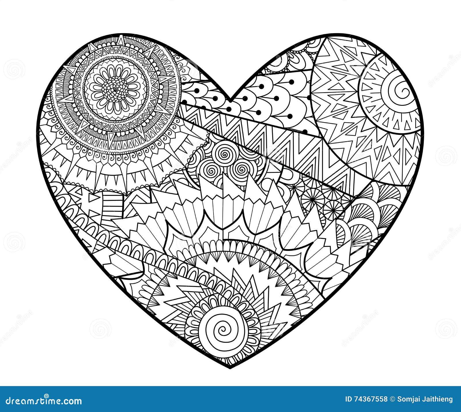 Coloriage Adulte Coeur.Zendoodle Dans La Forme De Coeur Pour Livres De Coloriage Pour L