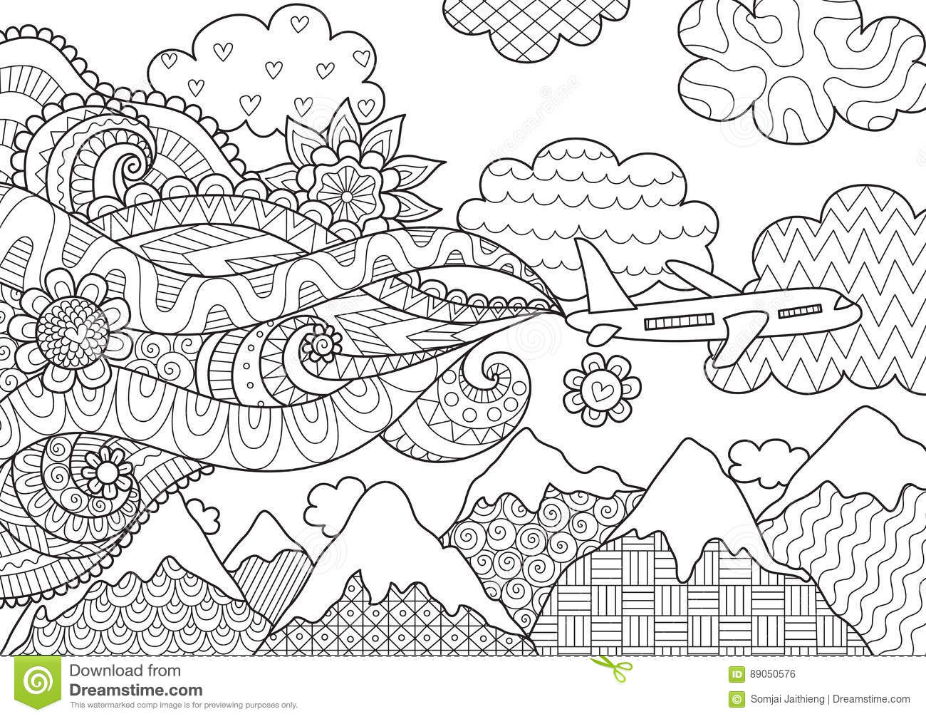Zendoodle Design Of Airplane For Illustration Stock Vector