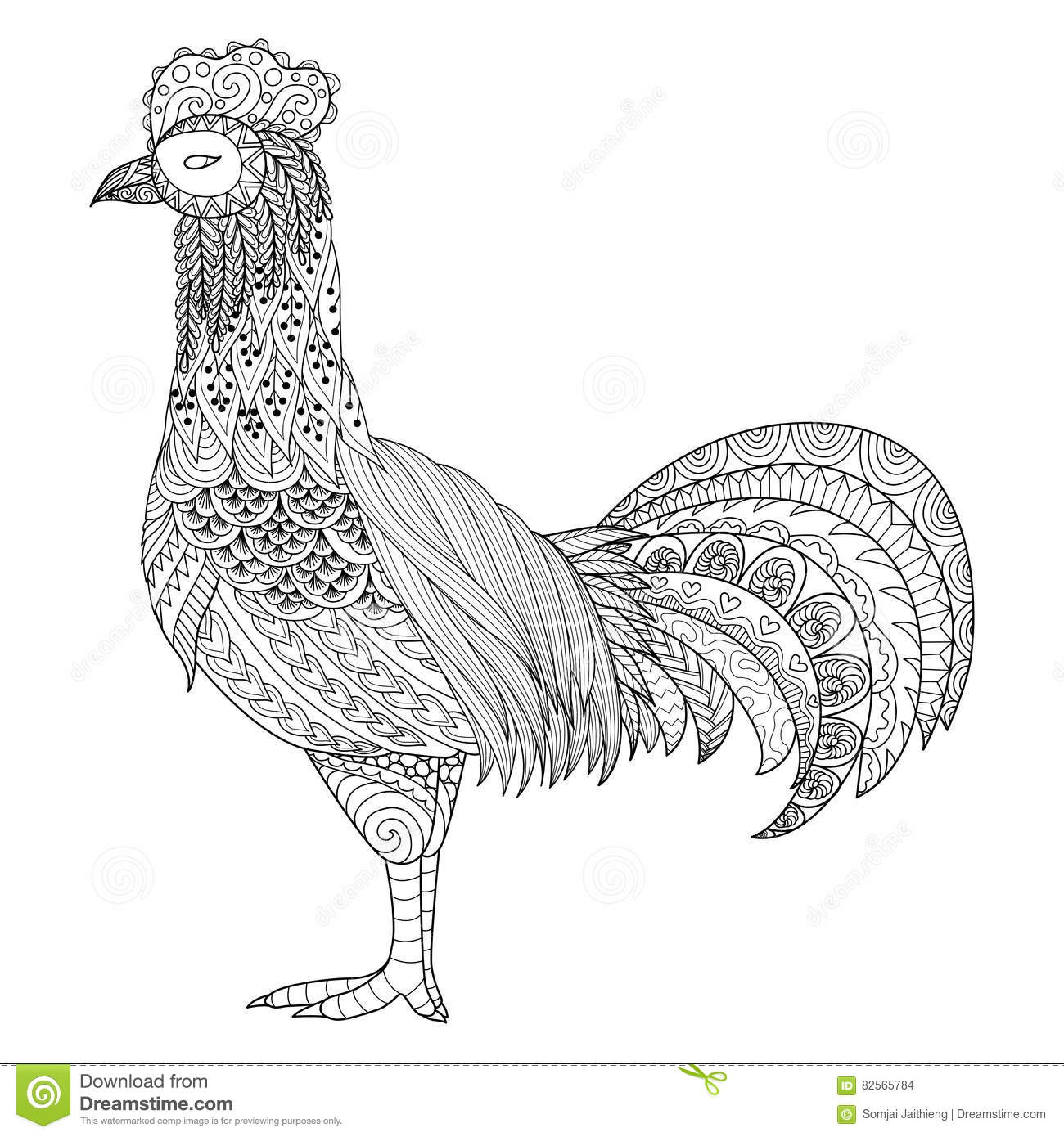 Zentangle Chicken Coloring Book Adult Stock Illustrations – 70 ...