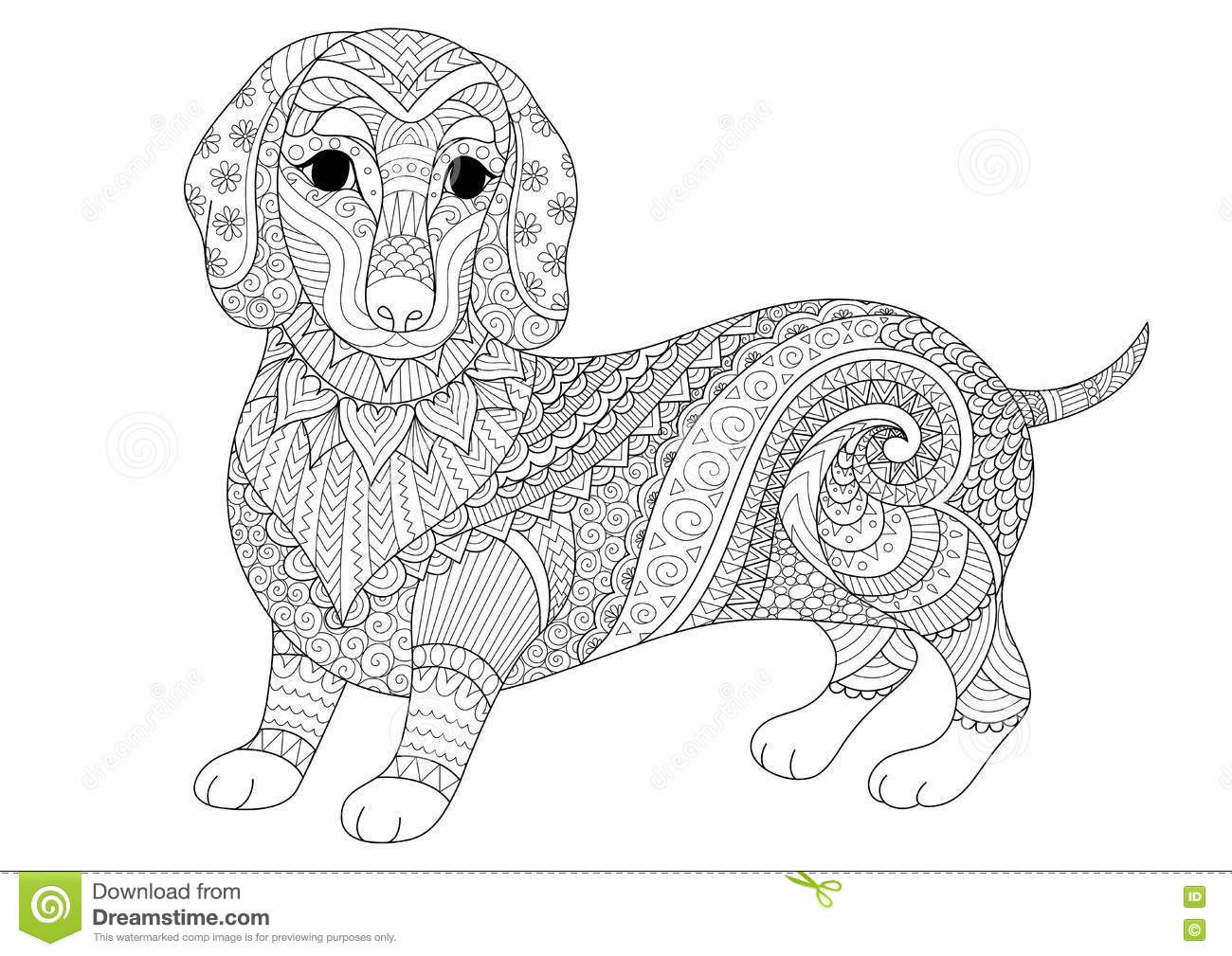 Zendoodle design of dachshund puppy for adult coloring - Dessin teckel ...