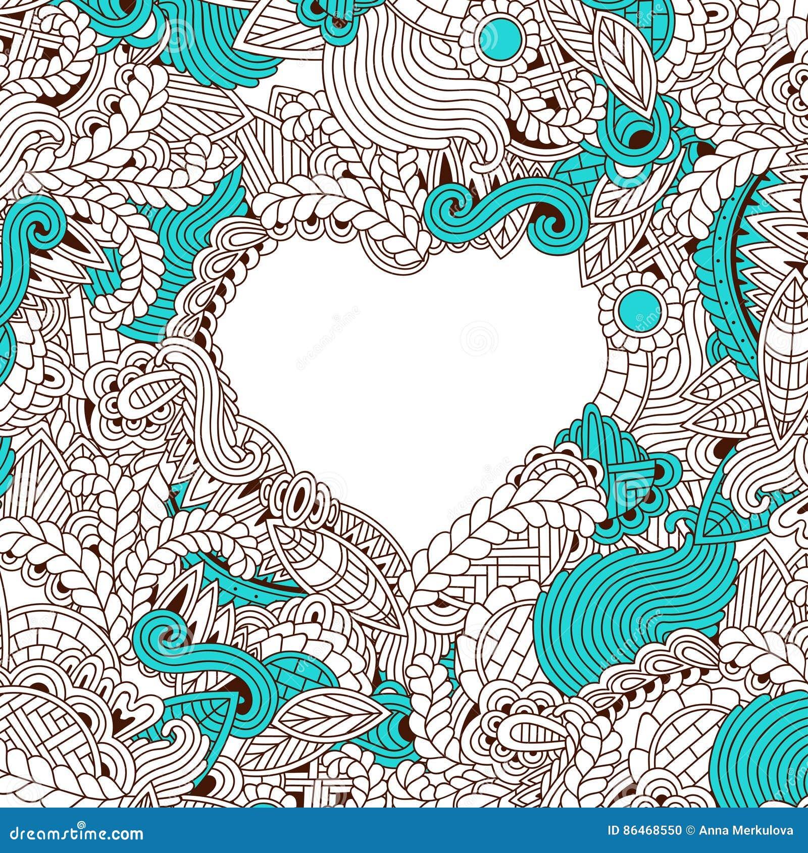 Wedding Card Design Line Art : Zendoodle design of heart shape stock vector