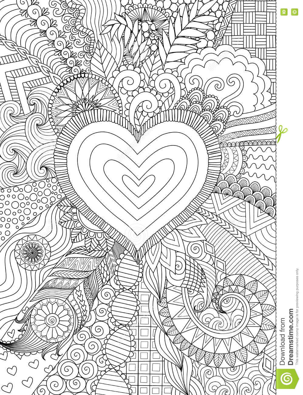 Abstract Line Art : Zendoodle design of heart shape on abstract line art