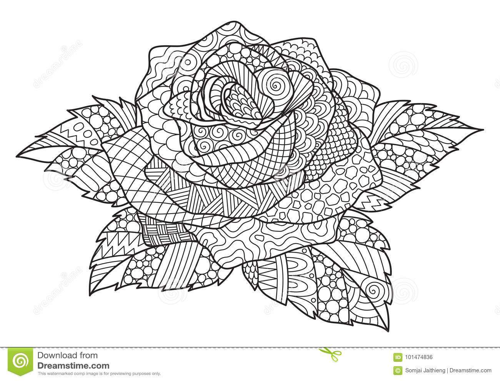 Zendoodle Design Of Rose For Design Element And Adult ...